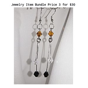 Crystal Bicone Drop Earrings On .925 Stamped Wires